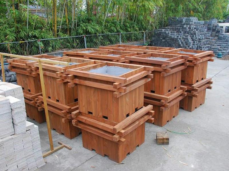 防腐木花箱绿化景观