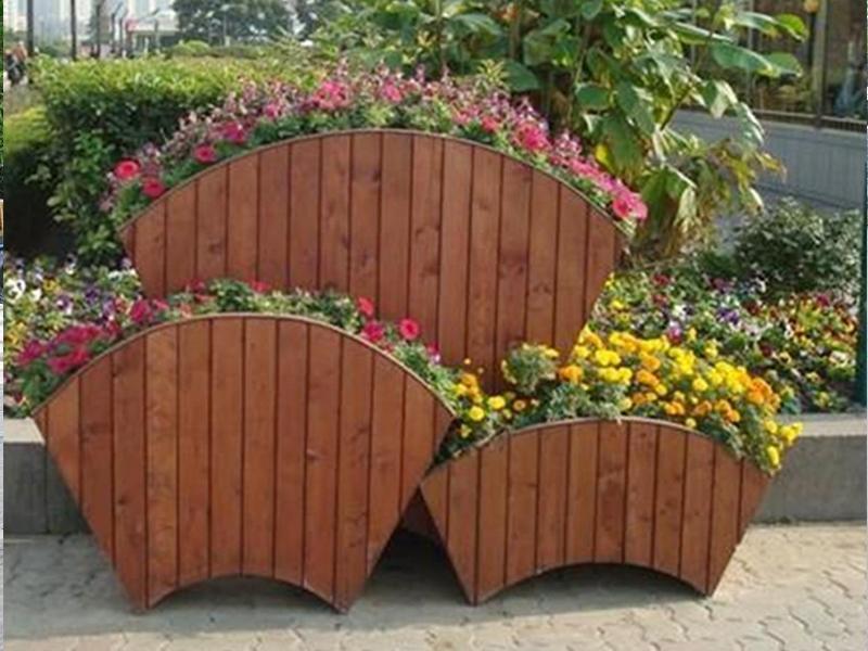 防腐木花箱绿化工程