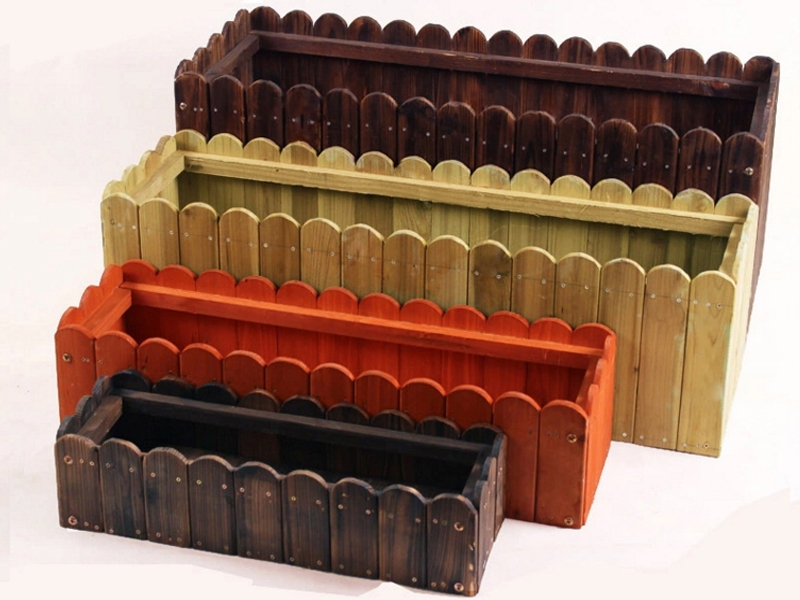 防腐木炭化花箱